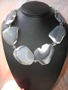 Huge Botswana Agate with crystal spacers necklace.