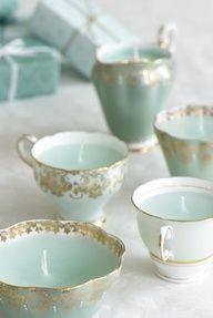Mint & Gold #wedding or #bridal shower tea cups