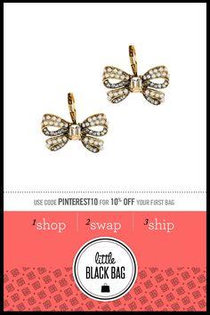 Betsey Johnson Crystal Bow Earrings from LittleBlackBag.com  ::Crystal:: Earrings:: Bow
