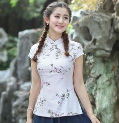 New Style Chinese Women's Tang Suit Tops Summer Cotton Linen Casual Blouse Vintage Button Floral Shirt S M L XL XXL XXXL 2518