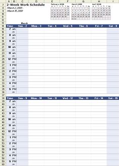 Free Monthly Work Schedule Template Download Simplified Biweekly - Weekly schedule template excel