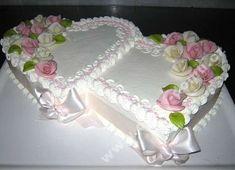 cake with hearts and roses- dort spojená srdce s růžemi / DORTY Z LÁSKY / Dorty cake with hearts and roses - Heart Shaped Wedding Cakes, Heart Shaped Cakes, Small Wedding Cakes, Heart Cakes, Purple Wedding Cakes, Beautiful Wedding Cakes, Wedding Cake Designs, Beautiful Cakes, Anniversary Cake Designs