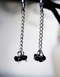 1 1/2 mm Black Hand Faceted Diamond Earrings by Created2Inspire, $65.00