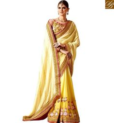 STYLISH BAZAAR DAZZLING YELLOW GEORGETTE HEAVY EMBROIDERED SAREE WITH HEAVY…