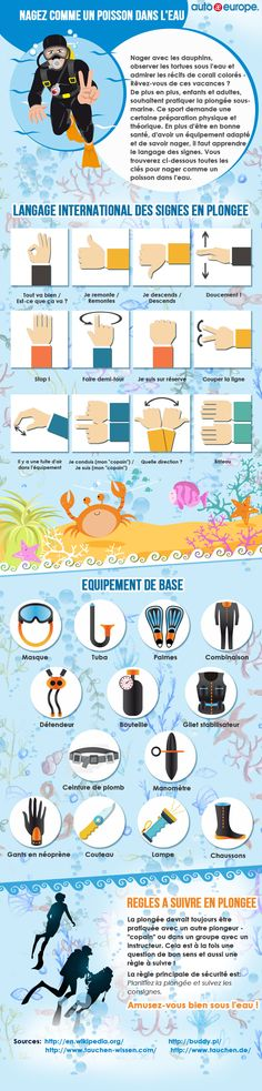 Auto Europe's short guide to diving on holiday. Check our infographic showing international diving hand signals, basic diving rules, and special equipment! Diving Equipment, Camping Equipment, Scuba Diving Magazine, Deep Diving, Europe, Under The Sea, Signs, Underwater, Travel Packing