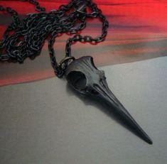 Gothic Bird Skull, Dark Art Necklace, Weird Shock Jewelry. $21.99, via Etsy.