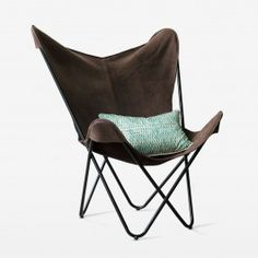 This weathered brown leather butterfly chair is comfortable and completely on trend! The black metal legs are contemporary in design, but with a low slung seat for 'sink in' lounging. Leather Butterfly Chair, Black Metal, Brown Leather, Armchair, Lounge, Contemporary, Furniture, Design, Home Decor