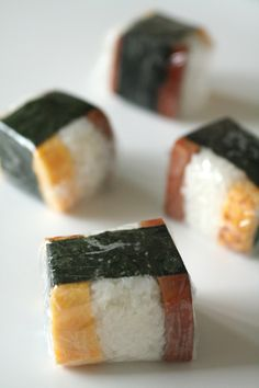 Spam Egg Rice Musubi (Popurar Rice Ball in Okinawa Japan). I find it curious that several of the places the US had military influences over have such a diet rich in Spam. I say because I am from PR Okinawa Food, Okinawa Japan, Sushi, Onigirazu, My Favorite Food, Favorite Recipes, Bento, Rice Balls, Asian Cooking