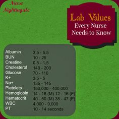 Nurse Nightingale: Lab Values Every Nurse Needs to Know. Blog full of tips for nursing students and new nurses!!