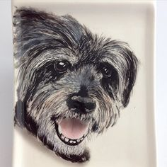 My latest pet portrait painted with underglazes on a ceramic plate & clear fired.  by hopnfrogpottery
