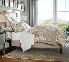tufted headboard and photo ledge above bed - Fillmore Square Upholstered Bed & Headboard | Pottery Barn