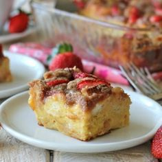 Strawberry eggnog baked french toast - prep everything the night before for an easy, decadent Christmas morning breakfast!