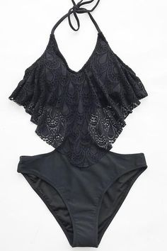54cb332c8a7c Black Lace One-piece Swimsuit – Cupshe Black Swimsuit, One Piece Swimsuit,  Black