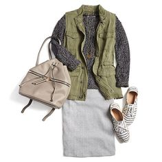 Elevate your errands! Trade in your denim for a fitted knit skirt. #StylistTip
