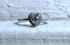 vintage heart halo diamond promise ring