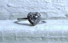 vintage heart halo diamond promise ring
