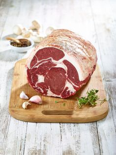 Rib of beef boned and rolled