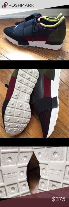 Balenciaga Mixed Media Trainer Multi Athletic Shoe UNWORN Balenciaga sneaks! They are called the Mixed Media Trainer. Originally 695! These are the nicest quality sneakers I have ever seen. Beautiful leather detail with comfortable supportive sole. A tad higher than a normal tennis shoe. Creates very flattering posture while wearing. Flawless in every way! people with 8.5 size feet will love these too They are a little small for a 9. Balenciaga Shoes Athletic Shoes