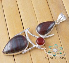 Natural Iron Tiger Eye Cabochon Gemstone 925 Sterling by SONUGEMS