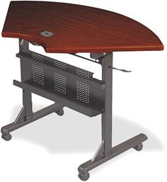 "BALT 89881 Flipper Training Table, Quarter-Round, 46w x 26d x 29-1/2h, Mahogany by Balt. $198.30. Four 2"" casters (two locking) for easy mobility.. Create multipurpose work areas in a conference room, training room or office.. Lever releases table surface for convenient storage in an upright position.. Solid wood top with a radius edge and cord management grommet.. Black powder coated steel frame with modesty panel/integral cable trough.. Versatile, mobile and eas..."