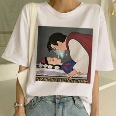New Women& Dark Snow White Harajuku T Shirt Woman Casual Short Sleeve Tshirt Funny Print T-shirt Ullzang Summer Top Tees Female Collars For Women, T Shirts For Women, Casual Tops, Casual Shirts, Casual Sweaters, Snow White Shirt, Aesthetic T Shirts, Aesthetic Art, Harajuku