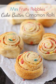 Mini Cake Batter Cinnamon Rolls {Recipe} - A Million Moments