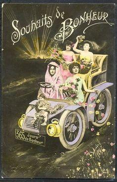 HU193 SURREALISM FANTASY LADIES VOITURE AUTOMOBILE CAR PHOTO MONTAGE pc 1905