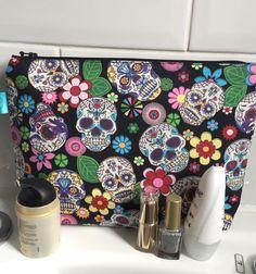 sugar skull large makeup bag skull toiletry by Dawnyssewingroom