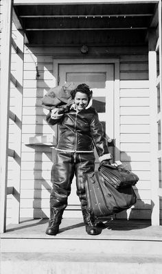 WASP pilot all set to go. Note the top-to-bottom leathers to combat temperatures often hovering around minus 50 Celsius.