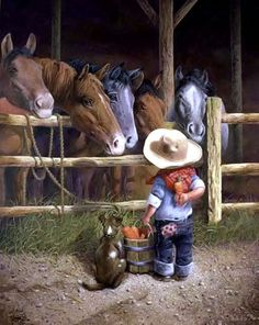 "Friendly Persuasion by Don Crook - 24"" x 28"" framed - $285.00 - #WesternArt"