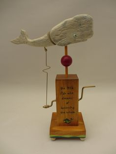 The Little Fish Dreams (white whale) The automaton is approximately 27 cm high (when the tail is raised), by approximately 17 cm wide (when the tail is lowered). Wood Projects, Woodworking Projects, Crackle Painting, White Whale, Mechanical Art, Whale Art, Mobile Art, Kinetic Art, Little Fish