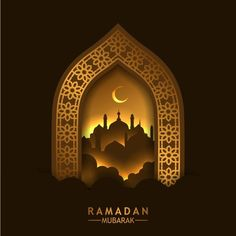 Beautiful golden geometric pattern frame door with reflection and silhouette mosque Vector and PNG Retro Background, Background Banner, Background Pictures, Background Patterns, Ramadan Background, Photography Business Card, Arab Wallpaper, Muslim Greeting, Mosque Vector