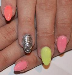 Simple peach, pink, and yellow nails with silver sparkled nail design  #Vintage #Fashion #2014 #Spring