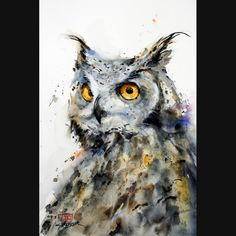 Owl, watercolor, by the very talented wildlife painter Dean Crouser.