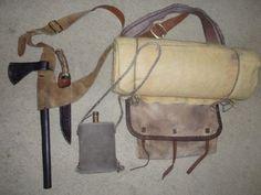 Shoulder belt w/hatchet+hunting knife--Linen pack+bedroll--Wool covered metal canteen. All worn over right shoulder. Bushcraft Gear, Bushcraft Camping, Camping Gear, Motorcycle Camping, Tent Camping, Wilderness Survival, Survival Gear, Man Gear, Powder Horn