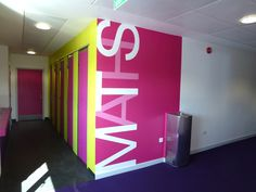 Bourne Academy, Bournemouth - hand painted large name graphics on the teaching blocks throughout the academy.  #mural #graphics #education #signage
