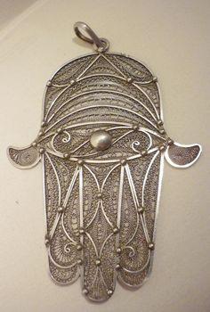 Silver filligree Khamsa pendant. | Essaouria Morocco | c. 1925
