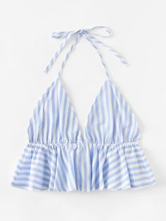 Striped Frill Hem Open Back Crop Halter Top -SheIn(Sheinside) Crop Top Outfits, Girly Outfits, Summer Outfits, Casual Outfits, Cute Outfits, Teenager Outfits, Diy Fashion, Teen Fashion, Ideias Fashion
