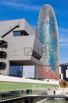 View of Torre agbar in Barcelona, Spain. Skyscraper, built in 1999-2005 by Jean Nouvel.Catalonia