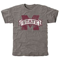 Small Men's Gray Mississippi State Bulldogs Classic Primary Logo Tri-Blend Short Sleeve T-Shirt