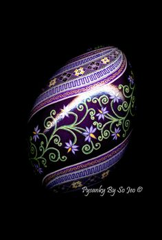 Little Purple Flowers Pysanka Batik Egg Art EBSQ by PysankyBySoJeo, $125.00