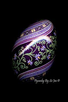 Little Purple Flowers Pysanka Batik Egg Art EBSQ by PysankyBySoJeo, $125.00