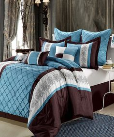 Blue Brown Florence Comforter Set bedding Pinterest Blue