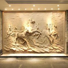 wall relief - Pesquisa Google 3d Wall Murals, Mural Art, Wall Sculptures, Lion Sculpture, Butterfly Stencil, Wall Panel Design, Buddha Wall Art, House Ceiling Design, Plaster Art