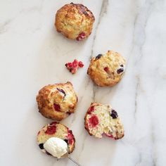 Fresh berry buttermilk scones with raspberries and blueberries