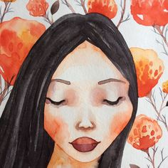 Coral florals and coral cheeks  www.bethanyeden.com  #floral #watercolor #illustration #portrait