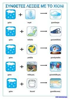 Greek Language, Speech And Language, Winter Activities, Preschool Activities, Kids Education, Special Education, Learn Greek, Winter Kids, Pre School