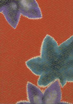 A silk haori (jacket) featuring shibori-technique maple leaves on an orange/red rinzu background. Taisho to early Showa period (1912-1935), Japan.  The Kimono Gallery