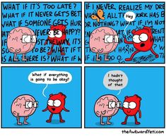 It's Going to Be Okay 🦋 comics heart brain thoughts okay ok overthinking thinking word comic fmsphotoaday fmspad fms_ok awkwardyeti awkward yeti theawkwardyeti anxiety anxious mentalhealthawareness Akward Yeti, The Awkward Yeti, Heart And Brain Comic, Life Comics, Funny Memes, Hilarious, Science Humor, Chemistry Jokes, Funny Comics