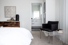 A stylish master retreat by professional interior designer, Natalie Fuglestveit Interior Design Master Bedrooms, Modern Bedroom, Custom Bedding, Ensuite Bathrooms, How To Make Pillows, Window Wall, Drapery, Crate, Barrel